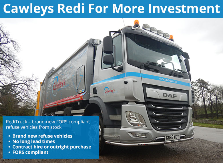 Cawleys has recently invested in a brand-new 26T RediTruck equipped with the MOBA bin weighing, cyclist safety equipment, 4-way camera system and KELSA lightbars.