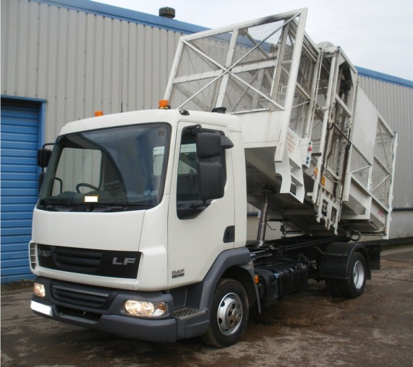 2008 Daf LF, Terberg Cage Tipper, c/w Domestic Binlift